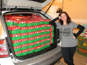 My Ford Edge is loaded with 216 Operation Christmas Child Shoeboxes!